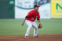 Kannapolis Intimidators shortstop Cleuluis Rondon (16) on defense against the Hagerstown Suns at Kannapolis Intimidators Stadium on May 4, 2016 in Kannapolis, North Carolina.  The Intimidators defeated the Suns 7-4.  (Brian Westerholt/Four Seam Images)