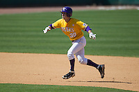 LSU Tigers shortstop Alex Bregman #30 takes his lead off of second base against the Auburn Tigers in the NCAA baseball game on March 24, 2013 at Alex Box Stadium in Baton Rouge, Louisiana. LSU defeated Auburn 5-1. (Andrew Woolley/Four Seam Images).
