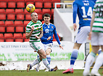 St Johnstone v Celtic…14.02.21   McDiarmid Park   SPFL<br />Glenn Middleton's shot deflects off Scott Brown<br />Picture by Graeme Hart.<br />Copyright Perthshire Picture Agency<br />Tel: 01738 623350  Mobile: 07990 594431