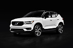White 2019 Volvo XC40 T5 AWD R-Design Luxury car SUV isolated on black studio background with clipping path Image © MaximImages, License at https://www.maximimages.com