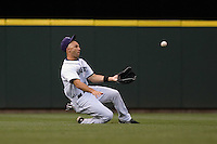 July 5, 2008: Seattle Mariners outfielder Raul Ibanez makes a sliding catch against the Detroit Tigers at Safeco Field in Seattle, Washington.