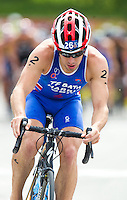 24 JUN 2012 - KITZBUEHEL, AUT - Aaron Harris (GBR) of Great Britain on the bike during the elite men's 2012 World Triathlon Series round in Schwarzsee, Kitzbuehel, Austria .(PHOTO (C) 2012 NIGEL FARROW)