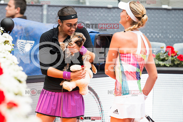 French Caroline Garcia with her dog and French Kristina Mladenovic during Doubles Woman Final Mutua Madrid Open Tennis 2016 in Madrid, May 07, 2016. (ALTERPHOTOS/BorjaB.Hojas) /NortePhoto.com