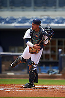 GCL Rays catcher Jovany Felipe (25) throws down to second during the second game of a doubleheader against the GCL Red Sox on August 4, 2015 at Charlotte Sports Park in Port Charlotte, Florida.  GCL Red Sox defeated the GCL Rays 2-1.  (Mike Janes/Four Seam Images)