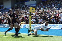 Jimmy Gopperth of Wasps touches down but finds his try disallowed shortly afterwards during the Aviva Premiership Rugby semi final match between Saracens and Wasps at Allianz Park on Saturday 19th May 2018 (Photo by Rob Munro/Stewart Communications)