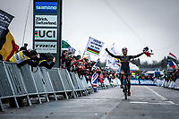 arion Riberolle (FRA) finishing solo and becoming World Champion at the Women's U23 race<br /> <br /> UCI 2020 Cyclocross World Championships<br /> Dübendorf / Switzerland<br /> <br /> ©kramon
