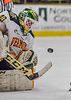 21 November 2017: University of Vermont Catamount goaltender Stefanos Lekkas makes a first period save against the University of Connecticut Huskies at Gutterson Fieldhouse in Burlington, Vermont. The Huskies defeated the Catamounts 4-1 in Hockey East play. Mandatory Credit: Ed Wolfstein Photo *** RAW (NEF) Image File Available ***