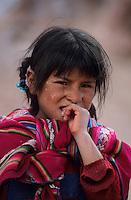 Amérique/Amérique du Sud/Pérou/Env du Moray : Portrait d'une petite indienne