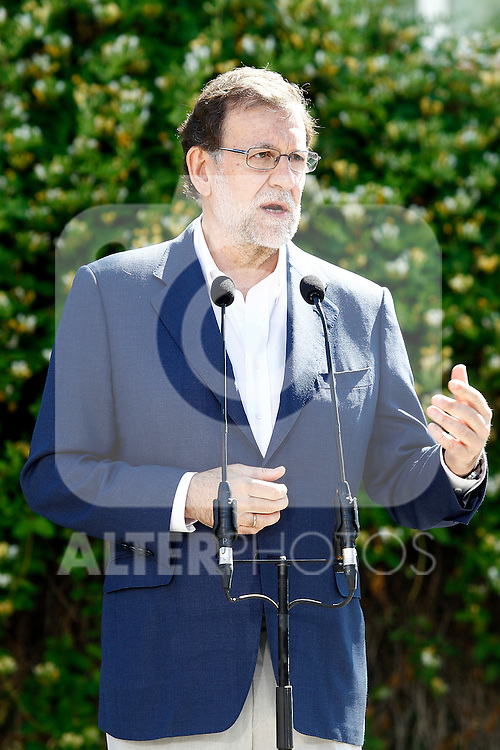 Mariano Rajoy, Spain's acting Prime Minister of the caretaker government, after cast his vote for the Spanish general election. June 26,2016. (ALTERPHOTOS/Acero)