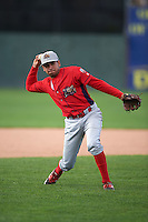 Williamsport Crosscutters shortstop William Cuicas (8) during practice before a game against the Batavia Muckdogs on August 27, 2015 at Dwyer Stadium in Batavia, New York.  Batavia defeated Williamsport 3-2.  (Mike Janes/Four Seam Images)