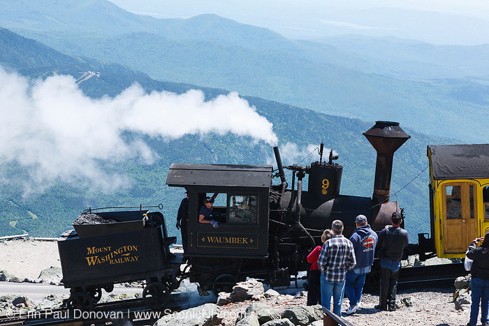 The Mount Washington Cog Railway on the summit of Mount Washington in the White Mountains, New Hampshire. Completed in 1869, this three mile railroad leads to the summit of Mount Washington. This is the Waumbek locomotive.