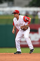 Arkansas Travelers second baseman Vance Albitz (23) during a game against the San Antonio Missions on May 24, 2014 at Dickey-Stephens Park in Little Rock, Arkansas.  Arkansas defeated San Antonio 4-2.  (Mike Janes/Four Seam Images)