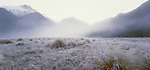 Frost covered river flats in the Upper Clarke Valley. Westland Region New Zealand.