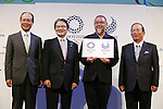 (L-R) Sadaharu Oh, Ryohei Miyata, Yoshiro Mori, Asao Tokolo, Toshiro Muto, April 25, 2016 : Olympic logo is seen before an unveiling event for the Tokyo 2020 Olympic and Paralympic games official emblems in Tokyo, Japan.  The Tokyo Organising Committee of the Olympic and Paralympic Games unveiled the emblems. (Photo by Yusuke Nakanishi/AFLO SPORT)