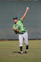 Brendon Little (34) of the Eugene Emeralds throws in the outfield before pitching against the Salem-Keizer Volcanoes at Volcanoes Stadium on July 24, 2017 in Keizer, Oregon. Eugene defeated Salem-Keizer, 7-6. (Larry Goren/Four Seam Images)