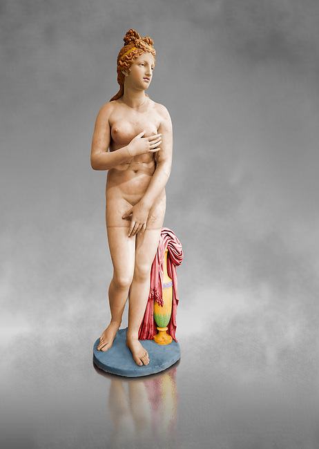 Painted colour verion of 2nd century AD Roman marble sculpture of Aphrodite (Venus), 'Dresden Capitoline Type, copied from a Hellanistic Greek original,  inv 6238, Museum of Archaeology, Italy, black background