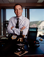 september 2000 File Photo Montreal (QC) CANADA<br /> Mitch Garber seen here when he was CEO of SUREFIRE (which became FireOne). Mr Garber, who lives in Canada, will have to move to Gilbraltar and it is understood Party Gaming will pay his relocation costs.<br /> <br /> The company may also buy out any remaining share options he has in Fire One.<br /> <br /> Mr Garber is likely to add weight to Party Gaming's acquisition strategy as Mr Garber has experience in mergers and acquisitions.<br /> <br /> He oversaw the merger of payments companies Terra Payments and Canadian-based Optimal Group in 2002.<br /> <br /> Mr Garber, who went to McGill University in Canada, is a qualified lawyer and for nine years worked for Lazarus, Charbonneau, a Canadian law firm.<br /> <br /> He has worked with casinos and advised governments on regulating betting and gaming companies. <br /> <br /> Online poker company Party Gaming is set to replace outgoing chief executive Richard Segal with Mitch Garber, former executive chairman of Aim-listed online payment firm Fire One.
