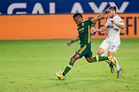 CARSON, CA - OCTOBER 07: Jeremy Ebobisse #17 of the Portland Timbers winds up to take a shot during a game between Portland Timbers and Los Angeles Galaxy at Dignity Heath Sports Park on October 07, 2020 in Carson, California.