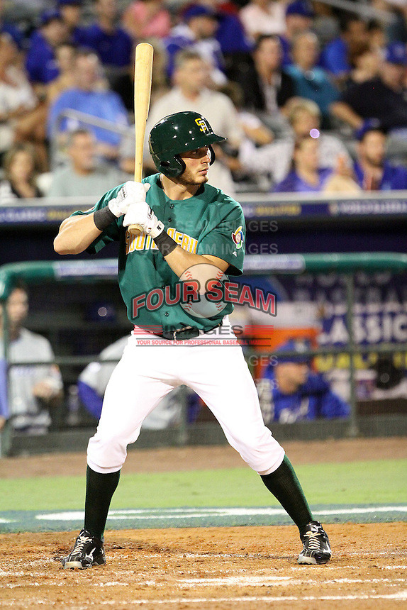 Alessio Angelucci #28 of Team South Africa at bat during a game against Team Israel at Roger Dean Stadium on September 19, 2012 in Jupiter, Florida. Team Israel defeated Team South Africa 7-3.  (Stacy Jo Grant/Four Seam Images)