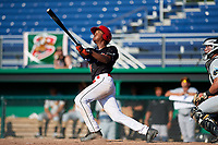 Batavia Muckdogs center fielder Brayan Hernandez (18) hits a game winning grand slam home run in the bottom of the ninth inning during a game against the West Virginia Black Bears on July 1, 2018 at Dwyer Stadium in Batavia, New York.  Batavia defeated West Virginia 8-4.  (Mike Janes/Four Seam Images)