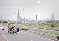 Early breakaway group with the Antwerp skyline as a backdrop<br /> <br /> Binckbank Tour 2017 (UCI World Tour)<br /> Stage 7: Essen (BE) > Geraardsbergen (BE) 191km