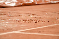3rd October 2020, Roland Garros, Paris, France; French Open tennis, Roland Garros 2020;  The court is covered in the rain during the Djokovic versus Galan match