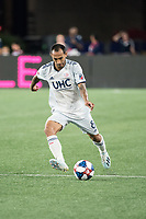 FOXBOROUGH, MA - AUGUST 4: Edgar Castillo #8 of New England Revolution passes the ball during a game between Los Angeles FC and New England Revolution at Gillette Stadium on August 3, 2019 in Foxborough, Massachusetts.