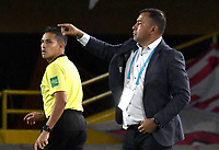 BOGOTA-COLOMBIA, 08-03-2020: Harold Rivera, tecnico de Independiente Santa Fe, durante partido de la fecha 8 entre Independiente Santa Fe y Atletico Nacional, por la Liga BetPLay DIMAYOR I 2020, en el estadio Nemesio Camacho El Campin de la ciudad de Bogota. / Harold Rivera, coach of Independiente Santa Fe, during a match of the 8th date between Independiente Santa Fe and Atletico Nacional, for the BetPlay DIMAYOR I Leguaje 2020 at the Nemesio Camacho El Campin Stadium in Bogota city. / Photo: VizzorImage / Luis Ramirez / Staff.