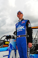 Mar. 9, 2012; Gainesville, FL, USA; NHRA top fuel dragster driver T.J. Zizzo  poses for a portrait during qualifying for the Gatornationals at Auto Plus Raceway at Gainesville. Mandatory Credit: Mark J. Rebilas-
