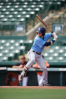 Tampa Bay Rays Jake Fraley (8) at bat during an Instructional League game against the Baltimore Orioles on October 2, 2017 at Ed Smith Stadium in Sarasota, Florida.  (Mike Janes/Four Seam Images)