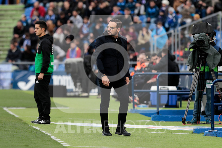 Getafe CF's coach Jose Bordalas during La Liga match between Getafe CF and Valencia CF at Coliseum Alfonso Perez in Getafe, Spain. November 10, 2018.