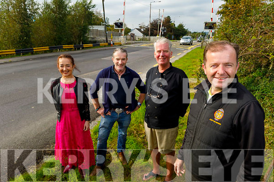 Farranfore businesses have concerns over reoccurring burst pipes in Farranfore near the  railway crossing in the village. Front right: Cllr Fionnan Fitzgerald. Back l to r: Maire O'Sullivan (Herlihey's Bar), Tim Cronin (New and Used Furniture) and Richard Sherwood (Sherwoods Pub).