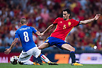 Sergio Busquets (R) of Spain fights for the ball with Marco Verratti (L) of Italy during their 2018 FIFA World Cup Russia Final Qualification Round 1 Group G match between Spain and Italy on 02 September 2017, at Santiago Bernabeu Stadium, in Madrid, Spain. Photo by Diego Gonzalez / Power Sport Images