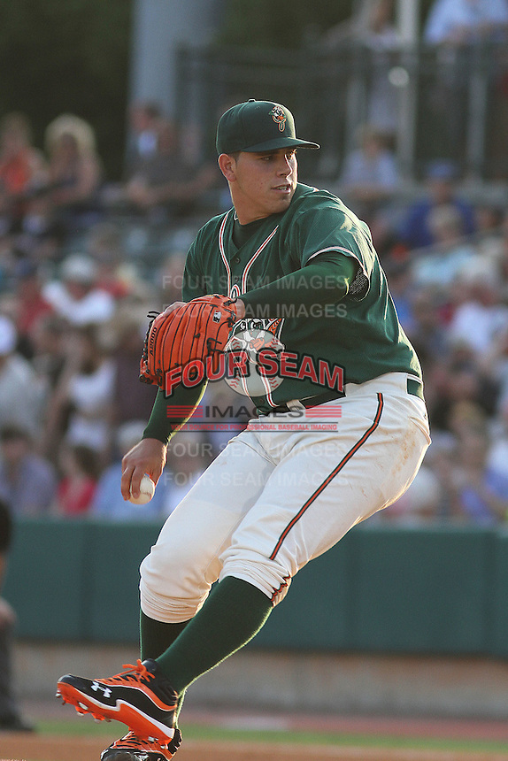 Greensboro Grasshoppers pitcher Jose Fernandez #16 pitching for the Northern division team in the South Atlantic League All-Star game held at the Joseph P. Riley Jr.Ballpark in Charleston, South Carolina on June 19th, 2012. The Northern division defeated the Southern division by the score of 3-2. (Robert Gurganus/Four Seam Images)