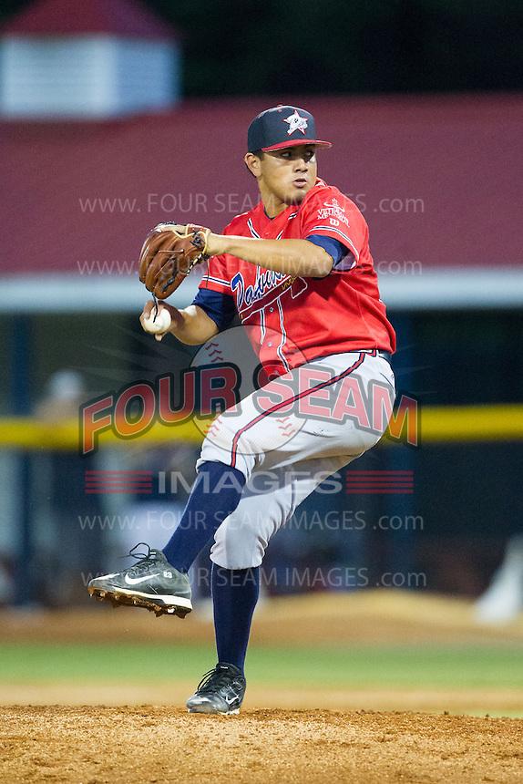 Danville Braves relief pitcher Carlos Salazar (33) in action against the Burlington Royals at Burlington Athletic Park on July 5, 2014 in Burlington, North Carolina.  The Royals defeated the Braves 5-4.  (Brian Westerholt/Four Seam Images)