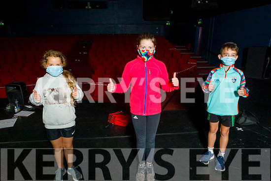 Fiadh Houlihan, Caoimhe Ní Chíobháin and Jamie Parker, members of the junior drama group on stage as they return to the National Folk Theatre Training Academy in Siamsa Tire on Monday.