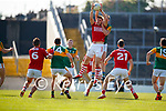 Jack Barry, Kerry, in action against Ian Maguire, Cork, during the Munster GAA Football Senior Championship Final match between Kerry and Cork at Fitzgerald Stadium in Killarney on Sunday.