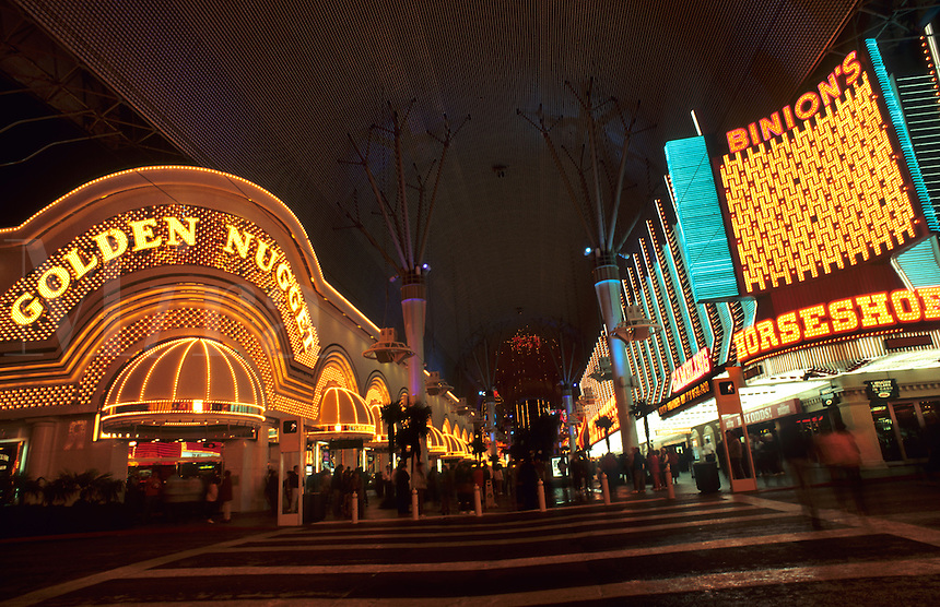 Golden Nugget Hotel, Las Vegas, Nevada at night with neon lights, USA