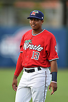 Fort Myers Miracle second baseman Aderlin Mejia (13) warms up before a game against the Tampa Yankees on April 15, 2015 at Hammond Stadium in Fort Myers, Florida.  Tampa defeated Fort Myers 3-1 in eleven innings.  (Mike Janes/Four Seam Images)
