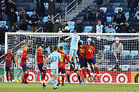 SAINT PAUL, MN - APRIL 24: Jan Gregus #8 of Minnesota United FC and Donny Toia #4 of Real Salt Lake battle for the ball in front of goal during a game between Real Salt Lake and Minnesota United FC at Allianz Field on April 24, 2021 in Saint Paul, Minnesota.