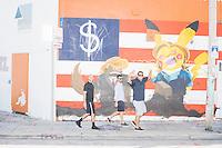 Pokemon HIllary and Trump mural - Miami, FL - 9 Oct 2016