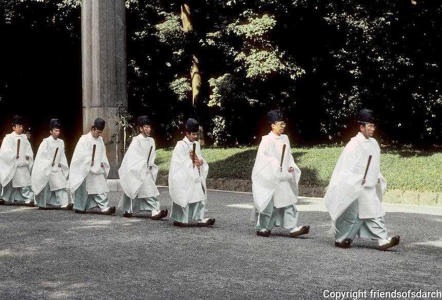 Tokyo: Meiji Shrine--Shinto Priests (?)  Photo '81.
