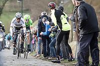 Peter Sagan & Sep Vanmarcke up the Haaghoek cobbles<br /> <br /> 72nd Omloop Het Nieuwsblad 2017