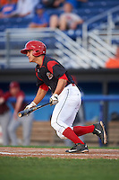 Batavia Muckdogs second baseman Mike Garzillo (11) at bat during the first game of a doubleheader against the Mahoning Valley Scrappers on August 17, 2016 at Dwyer Stadium in Batavia, New York.  Mahoning Valley defeated Batavia 10-3. (Mike Janes/Four Seam Images)