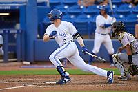 Dunedin Blue Jays MacKenzie Mueller (27) bats during a game against the Bradenton Marauders on June 5, 2021 at TD Ballpark in Dunedin, Florida.  (Mike Janes/Four Seam Images)