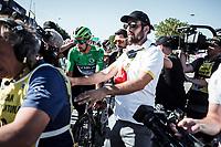 Green Jersey Peter Sagan (SVK/Bora Hansgrohe) wins the bunch sprint in Colmar. <br /> <br /> Stage 5: Saint-Dié-des-Vosges to Colmar (175km)<br /> 106th Tour de France 2019 (2.UWT)<br /> <br /> ©kramon