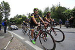 Colombia team riders tackle the final climb of Superga near the finish of the 2015 96th Milan-Turin 186km race starting at San Giuliano Milanese, Italy. 1st October 2015.<br /> Picture: Eoin Clarke | Newsfile