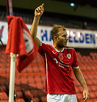21st November 2020, Oakwell Stadium, Barnsley, Yorkshire, England; English Football League Championship Football, Barnsley FC versus Nottingham Forest; Herbie Kane of Barnsley signals a set piece from the corner flag