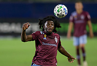 CARSON, CA - SEPTEMBER 19: Lalas Abubakar #6 of the Colorado Rapids passes keeps his eyes on the ball during a game between Colorado Rapids and Los Angeles Galaxy at Dignity Heath Sports Park on September 19, 2020 in Carson, California.