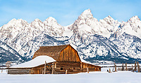 Moulton Barn and Grant Tetons<br /> One February morning I snowshoed across the Antelope Flats to capture this image because it seemed like a fun adventure.  I had no idea this was one of the most photographed barns in the world.  It was built by the John Moulton family as part of their homestead about 1916.  Antelope Flats is between the towns of Kelly and Moose in the valley of Jackson Hole, near the Grand Tetons, in Wyoming.